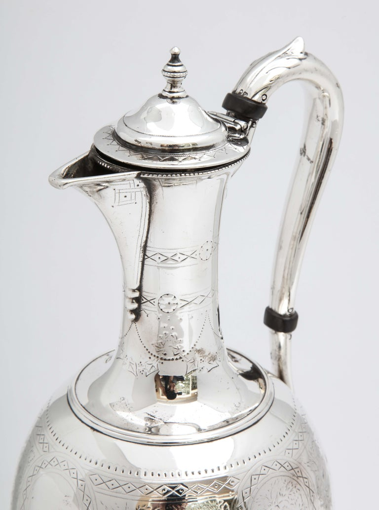 Victorian Sterling Silver Claret Jug by Martin and Hall For Sale 9