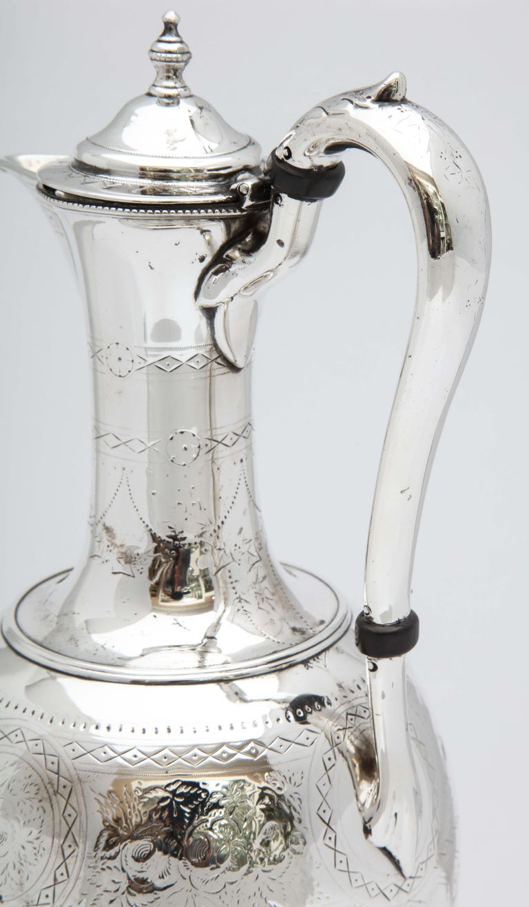 Late 19th Century Victorian Sterling Silver Claret Jug by Martin and Hall For Sale