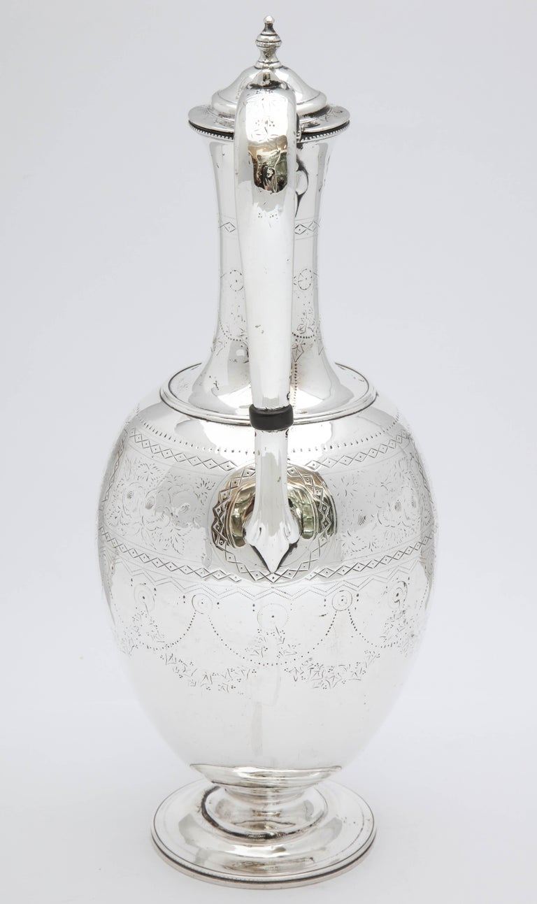 Victorian Sterling Silver Claret Jug by Martin and Hall For Sale 1
