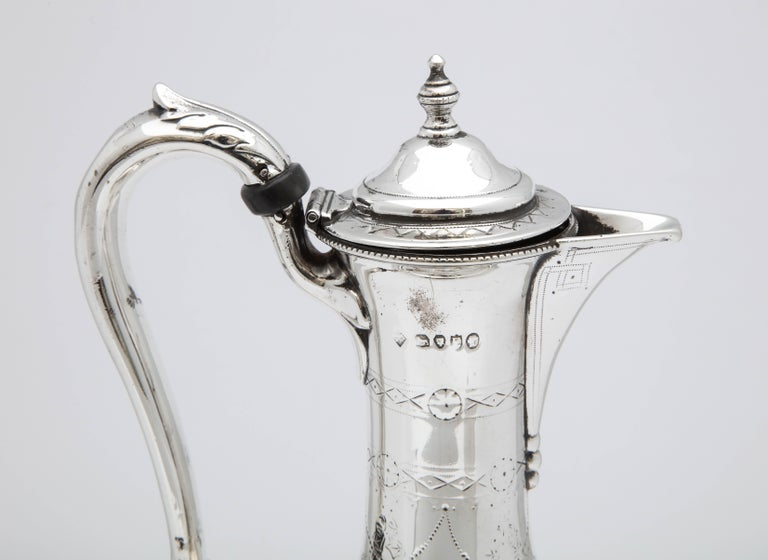 Victorian Sterling Silver Claret Jug by Martin and Hall For Sale 3