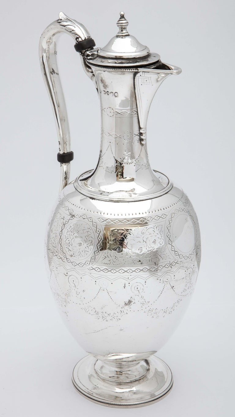 Victorian Sterling Silver Claret Jug by Martin and Hall For Sale 4