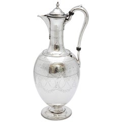Victorian Sterling Silver Claret Jug by Martin and Hall