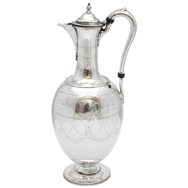 Victorian Sterling Silver Claret Jug by Martin and Hall For Sale