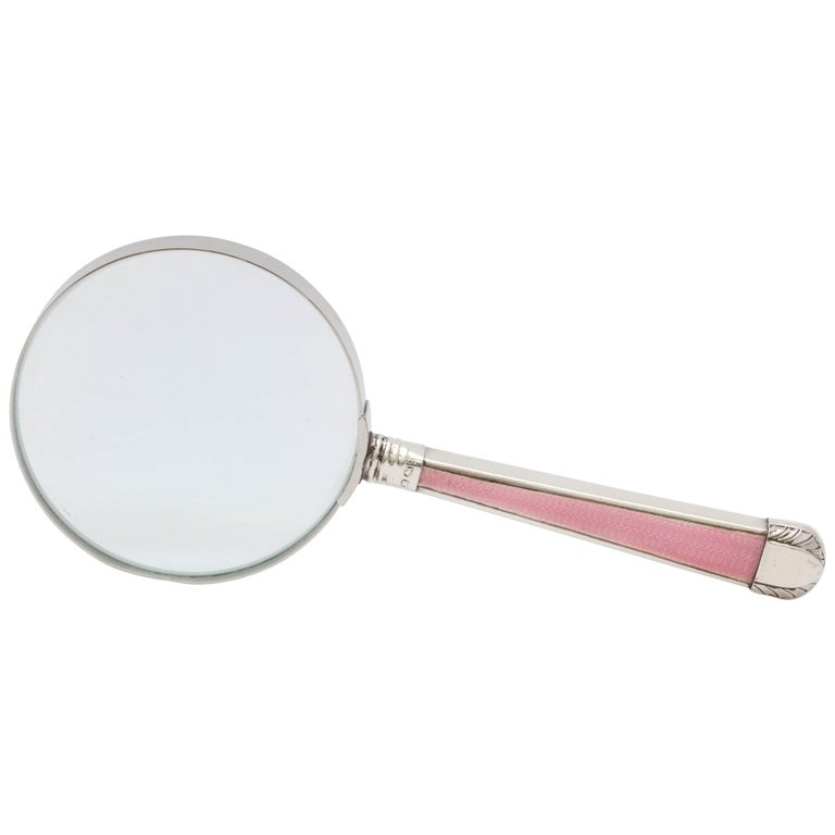 Victorian, Sterling Silver, Deep Pink Guilloche Enamel-Mounted Magnifying Glass For Sale