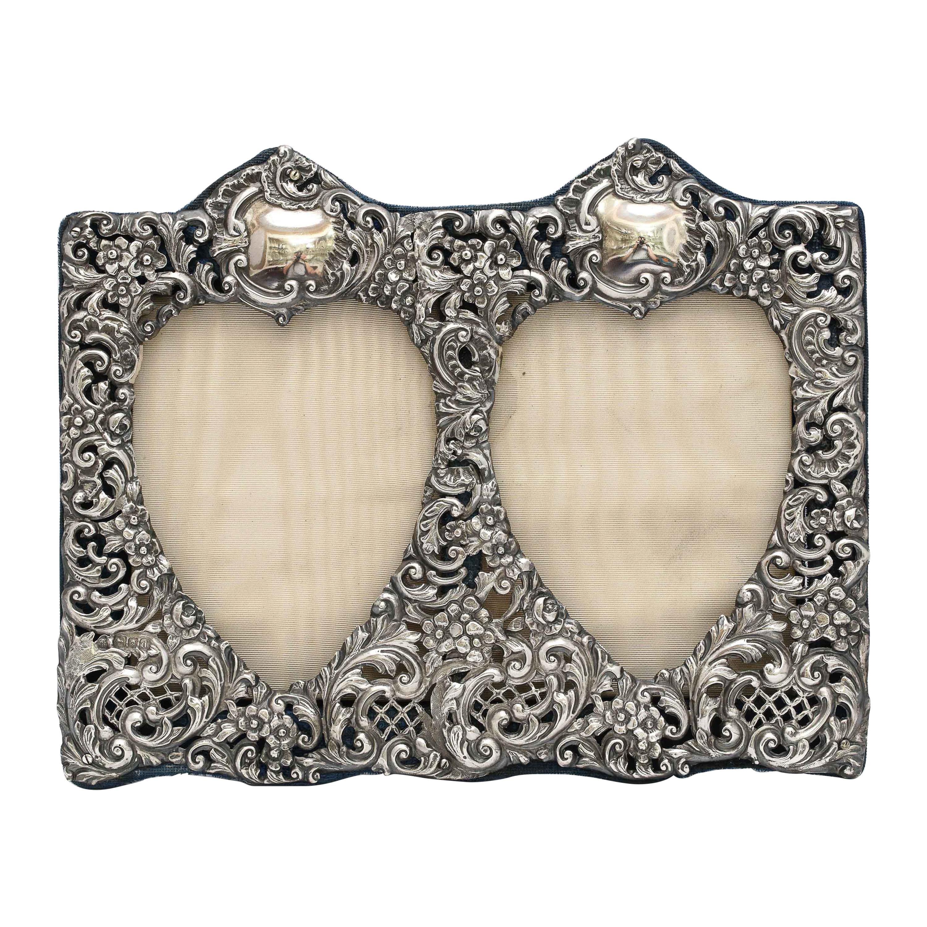 Victorian Sterling Silver Double Heart Picture Frame - Gibson & Langman