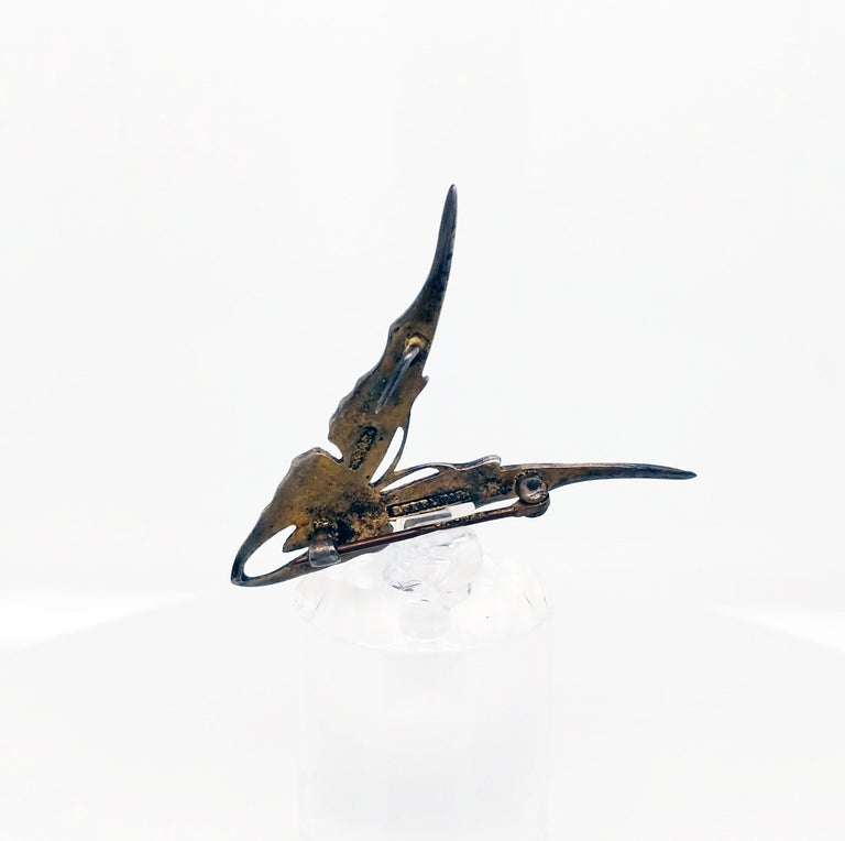 Victorian Sterling Silver Hand Enameled Butterfly Brooch, 1880 In Good Condition For Sale In Lexington, KY