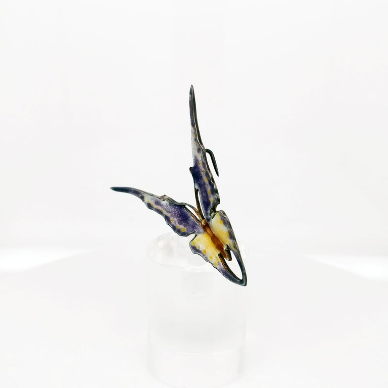 Victorian Sterling Silver Hand Enameled Butterfly Brooch, 1880 For Sale 1