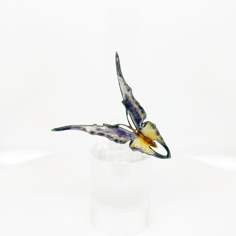 Victorian Sterling Silver Hand Enameled Butterfly Brooch, 1880 For Sale 2