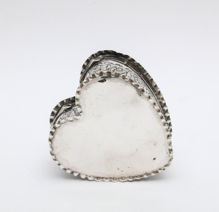 Victorian Sterling Silver Heart-Form Trinkets Box with Hinged Lid For Sale 6