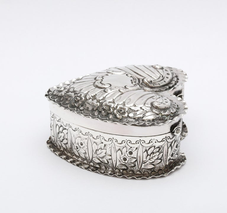 Gilt Victorian Sterling Silver Heart-Form Trinkets Box with Hinged Lid For Sale