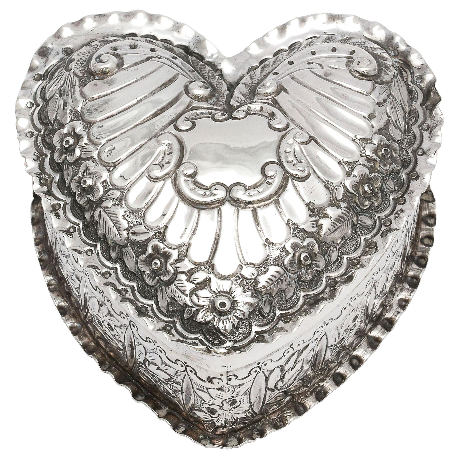 Victorian Sterling Silver Heart-Form Trinkets Box with Hinged Lid
