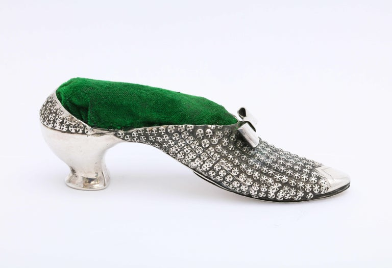 English Victorian Sterling Silver High-Heeled Shoe-Form Pincushion by Adie & Lovekin For Sale
