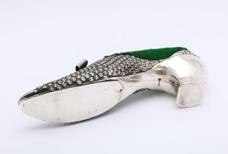 Victorian Sterling Silver High-Heeled Shoe-Form Pincushion by Adie & Lovekin For Sale 4