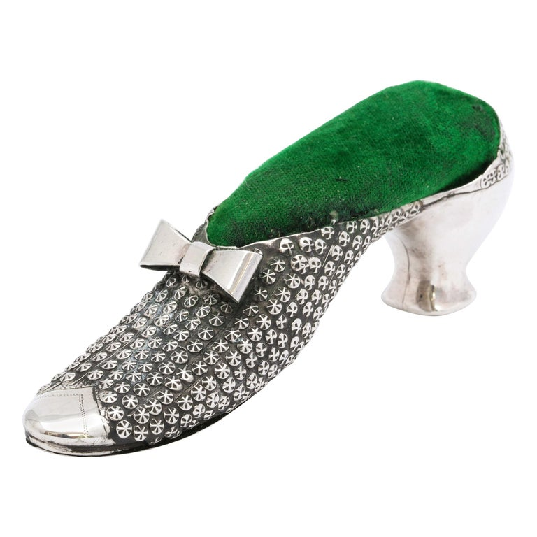 Victorian Sterling Silver High-Heeled Shoe-Form Pincushion by Adie & Lovekin For Sale
