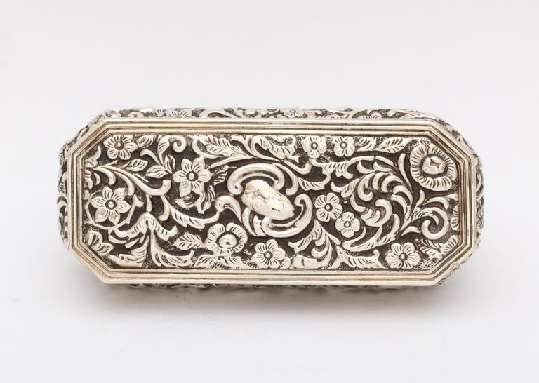 Gilt Victorian Sterling Silver Jewelry/Trinkets Box with Hinged Lid