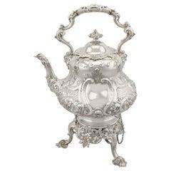 Victorian Sterling Silver Louis Spirit Kettle, 1855