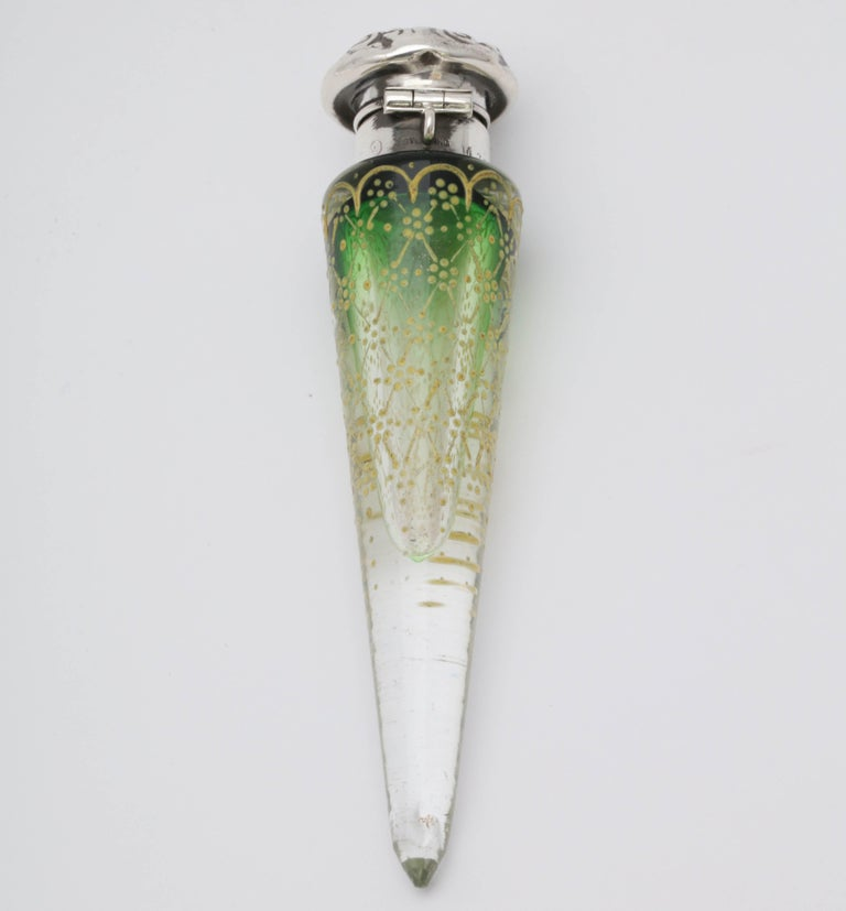 Victorian Sterling Silver Mounted Enameled Green Crystal Lay-Down Perfume Bottle For Sale 2