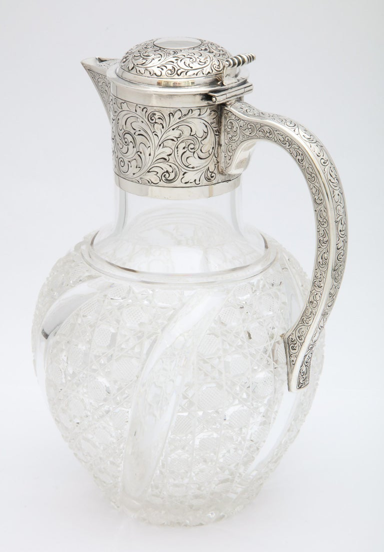 Victorian Sterling Silver-Mounted Hobnail Cut Claret Jug by Heath & Middleton In Good Condition For Sale In New York, NY
