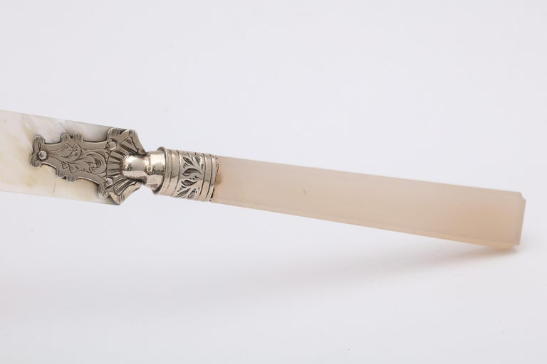 Late 19th Century Victorian Sterling Silver-Mounted Mother of Pearl and Chalcedony Letter Opener For Sale