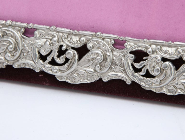 Victorian Sterling Silver Mounted Picture Frame by Deakin & Francis For Sale 6