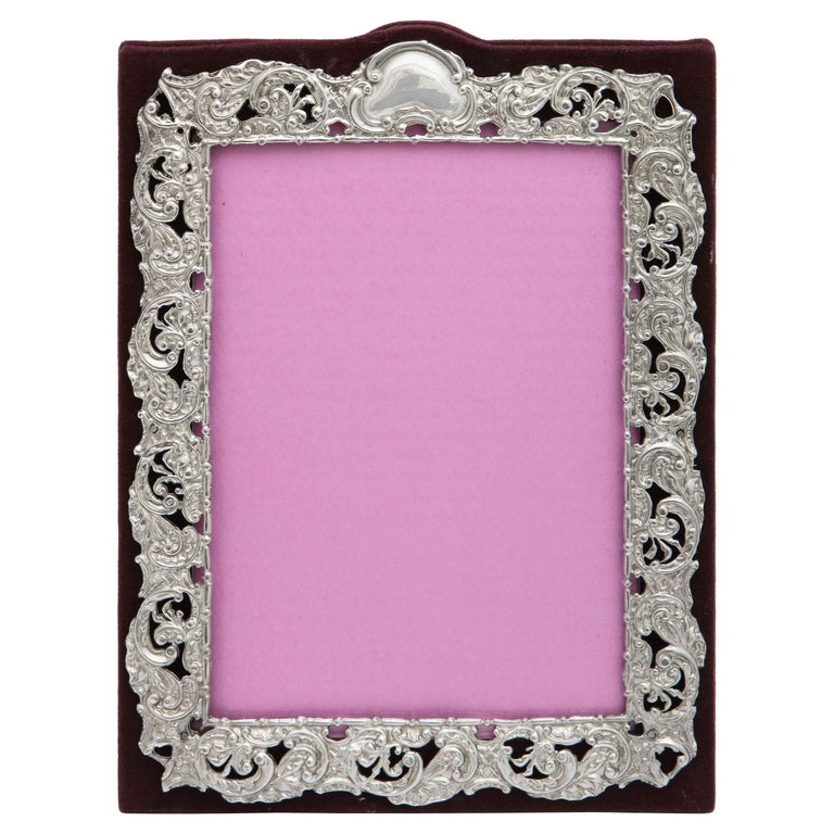 Victorian Sterling Silver Mounted Picture Frame by Deakin & Francis For Sale
