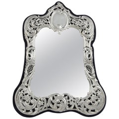 Victorian Sterling Silver Mounted Standing Mirror
