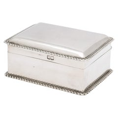 Victorian Sterling Silver Table/Trinkets Box with Hinged-Lid
