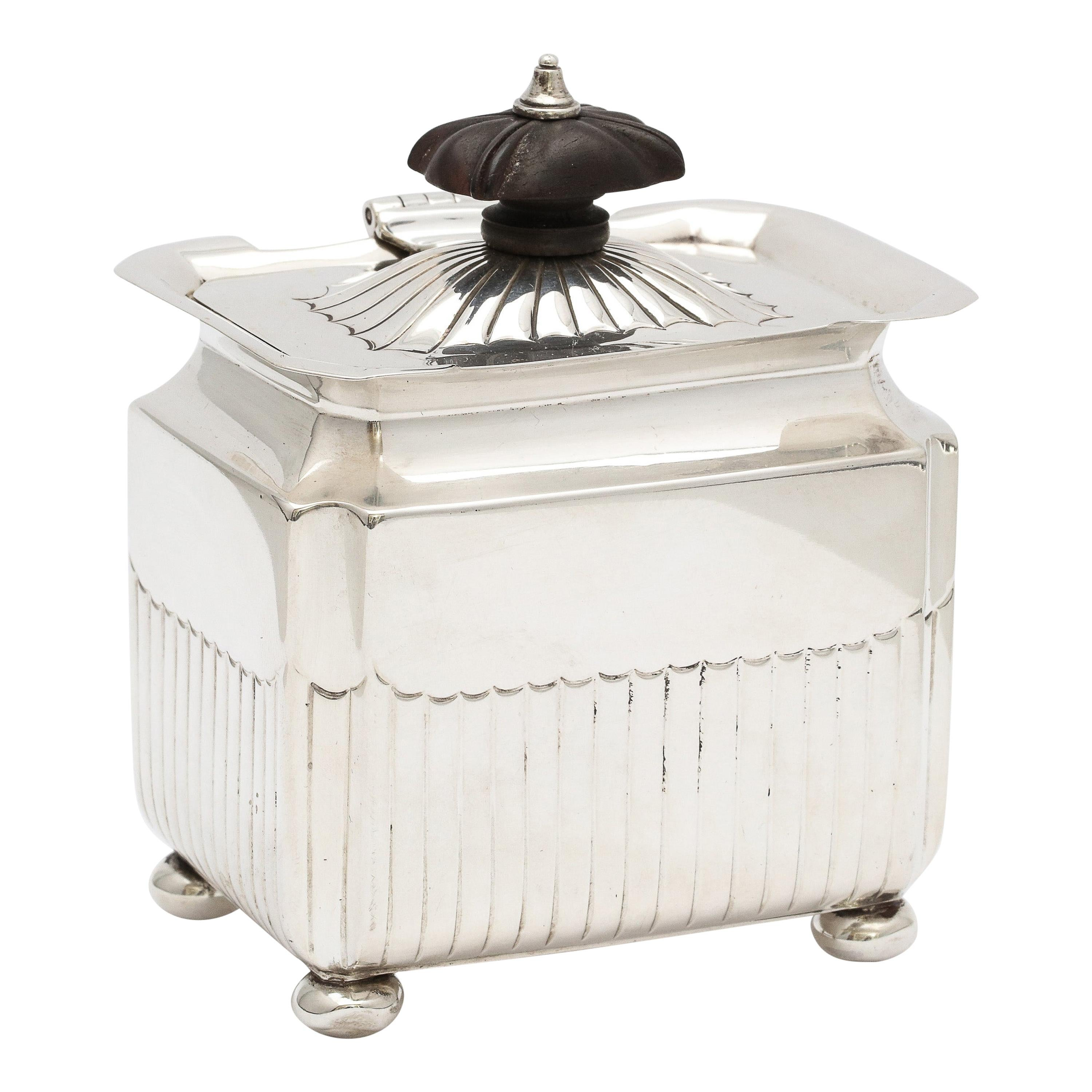 Victorian Sterling Silver Tea Caddy with Hinged Lid, Gibson & Langman