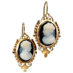 Victorian Stone Cameo 14 Karat Yellow Gold Earrings