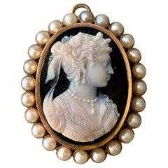 Victorian Stone Cameo Brooch and Pendant with Pearl Halo in 14 Karat Yellow Gold