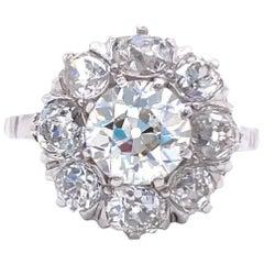 Victorian Style 1.32 Carat Old European Cut Diamond Platinum Cluster Ring