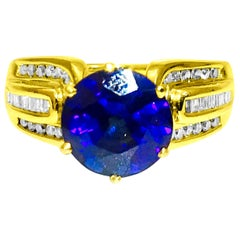 Victorian Style 6.00 Carat Blue Sapphire and Diamond Ring