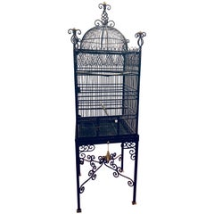 Victorian Style Antique Solid Brass Ebony Painted Monumental Bird Cage