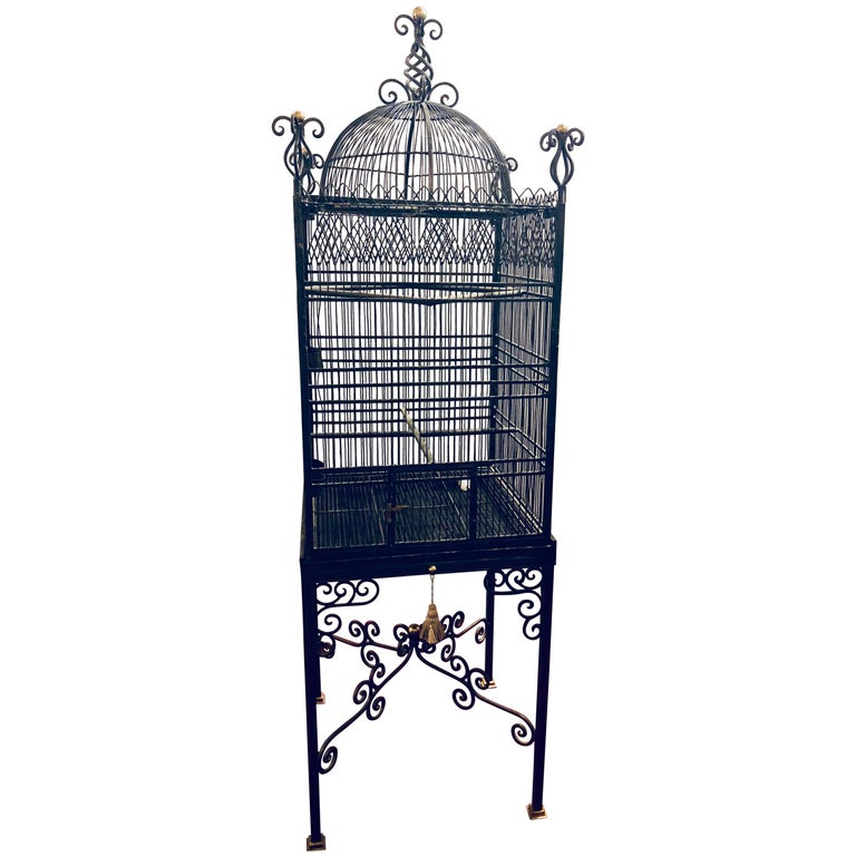 Victorian Style Antique Solid Brass Ebony Painted Monumental Bird