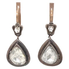 Victorian Style Apx 5ct Pear Rose Cut Diamond Drop Earrings