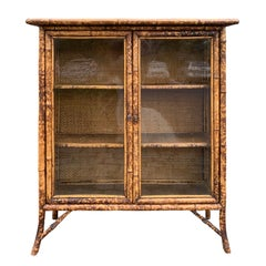 Victorian Style Bamboo Black Lacquer and Japanned Bookcase, circa 1875-1900