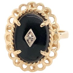Victorian Style Black Onyx Yellow Gold Oval Ring with Diamond Accent