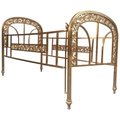 Victorian Style Brass and Bronze Infant Cradle, France, 20th Century