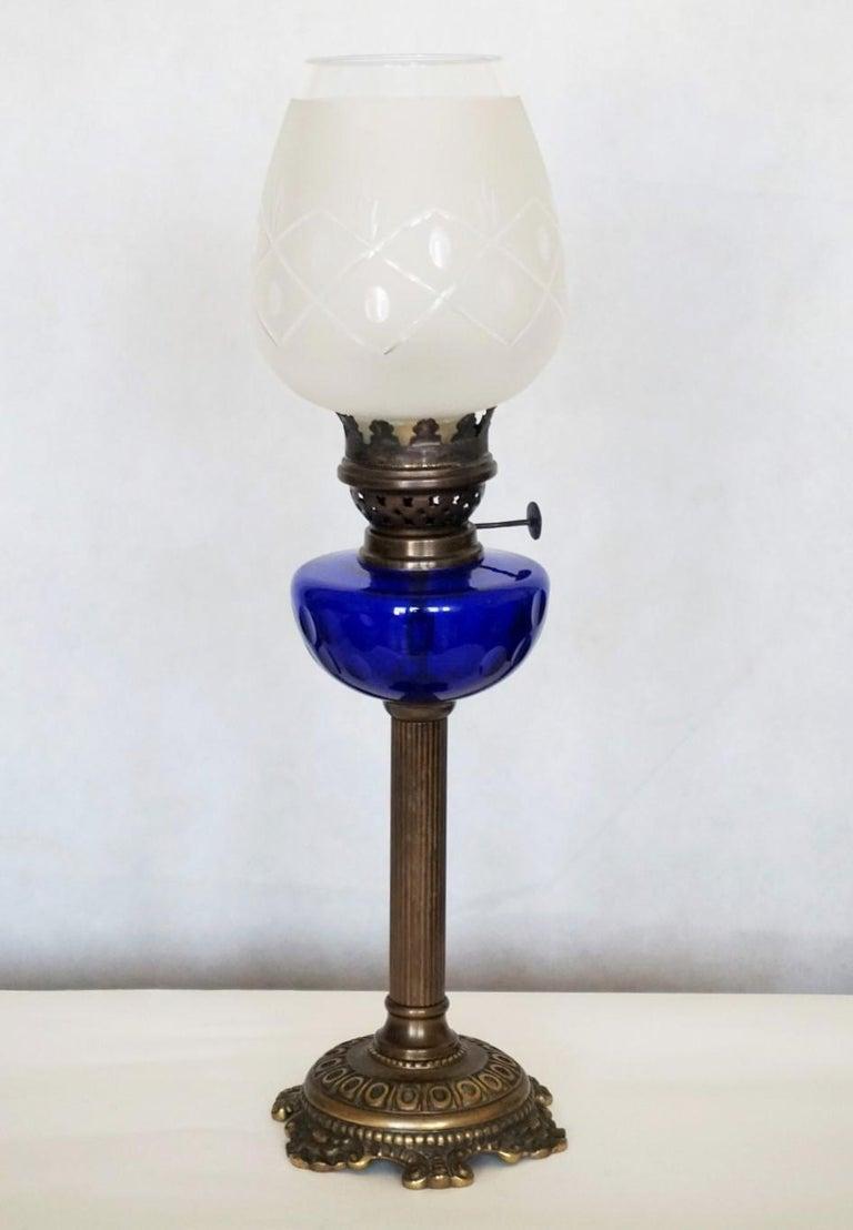 Victorian Bronze Cobalt Blue Glass Font, Cobalt Blue Hurricane Lamp