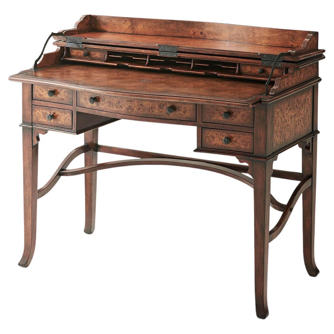 Victorian Style Burl Campaign Desk