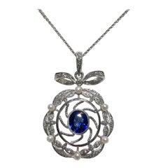 Victorian Style Ceylon Sapphire Diamond Pearl Gold Pendant