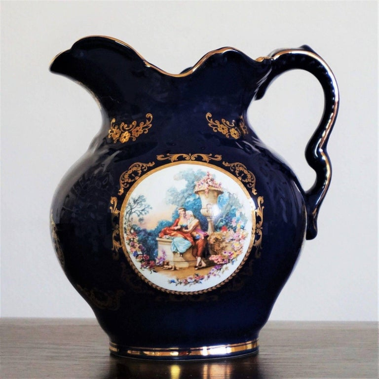 Portuguese Victorian Style Cobalt Blue Hand Painted Porcelain Wash Bowl Pitcher For Sale