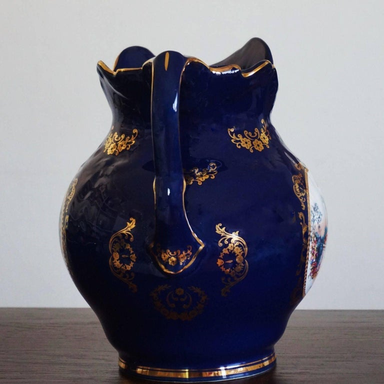 Victorian Style Cobalt Blue Hand Painted Porcelain Wash Bowl Pitcher For Sale 1