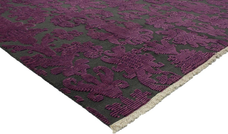 Victorian Style Contemporary Damask Area Rug With Modern Design For