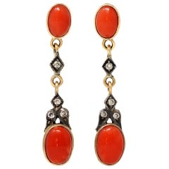Victorian Style Coral Dangling Earrings with Diamond Accents