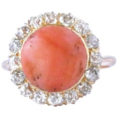 Victorian Style Coral Diamond 18 Karat Gold Cluster Ring