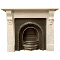 Victorian Style Corbeled Carrara Marble Fireplace Surround.