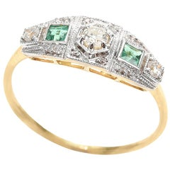 Victorian Style Emerald Diamond Ring 18 Carat Gold