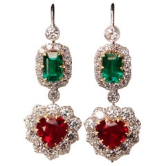 Victorian Style Emerald, Ruby and Diamond Drop 18 Karat White Gold Drop Earrings