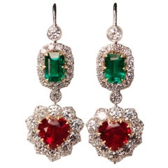 Victorian style Emerald, Ruby and Diamond Drop 18 Karat White Gold Earrings